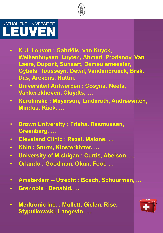 K.U. Leuven : Gabriëls, van Kuyck, Welkenhuysen, Luyten, Ahmed, Prodanov, Van Laere, Dupont, Sunaert, Demeulemeester, Gybels, Tousseyn, Dewil, Vandenb