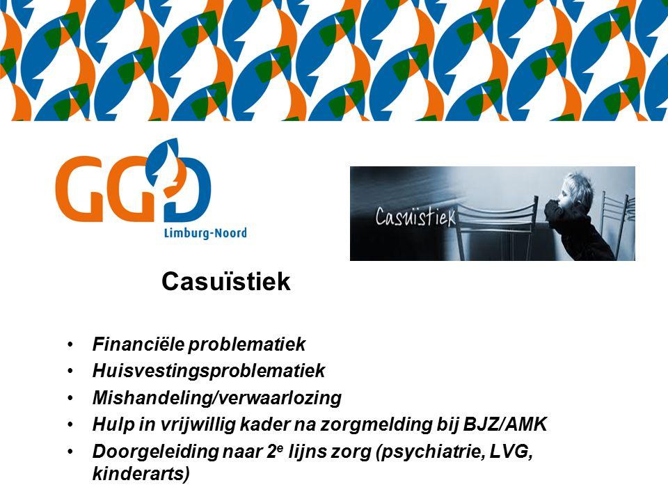 Casuïstiek Financiële problematiek Huisvestingsproblematiek Mishandeling/verwaarlozing Hulp in vrijwillig kader na zorgmelding bij BJZ/AMK Doorgeleiding naar 2 e lijns zorg (psychiatrie, LVG, kinderarts)