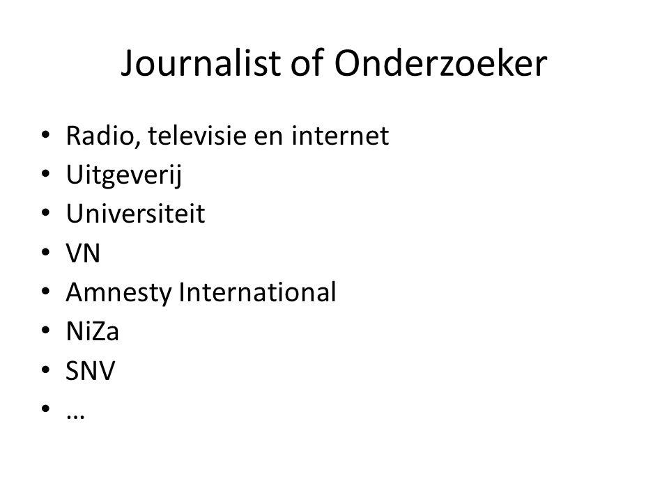 Journalist of Onderzoeker Radio, televisie en internet Uitgeverij Universiteit VN Amnesty International NiZa SNV …