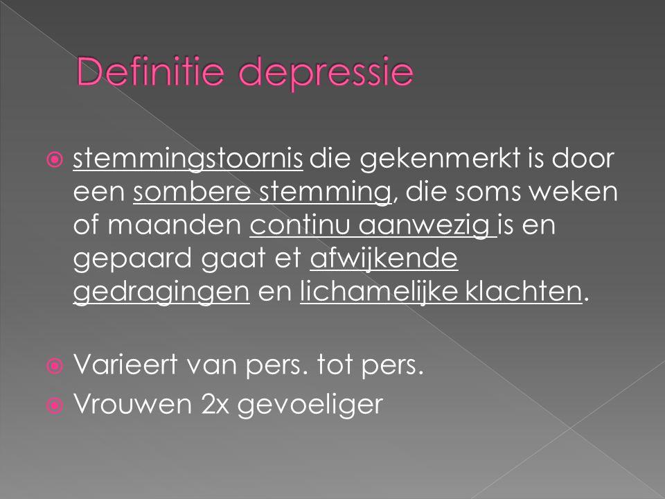  Genetische aanleg  Verlaagde spiegel serotonine  Onverwerkt verlies  ….