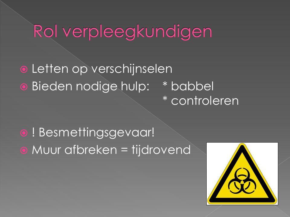  Letten op verschijnselen  Bieden nodige hulp:* babbel * controleren  ! Besmettingsgevaar!  Muur afbreken = tijdrovend