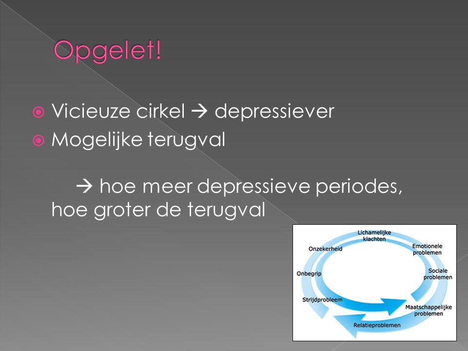  Vicieuze cirkel  depressiever  Mogelijke terugval  hoe meer depressieve periodes, hoe groter de terugval