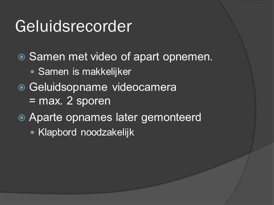 Geluidsrecorder  Samen met video of apart opnemen.