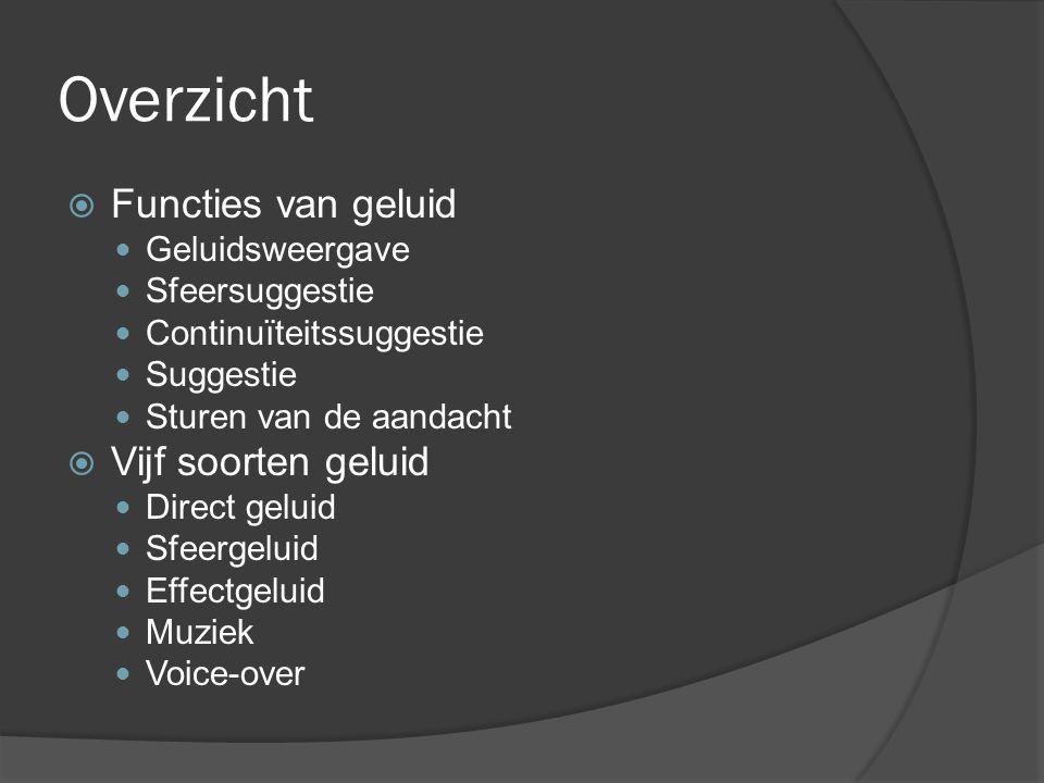 Overzicht  Functies van geluid Geluidsweergave Sfeersuggestie Continuïteitssuggestie Suggestie Sturen van de aandacht  Vijf soorten geluid Direct geluid Sfeergeluid Effectgeluid Muziek Voice-over