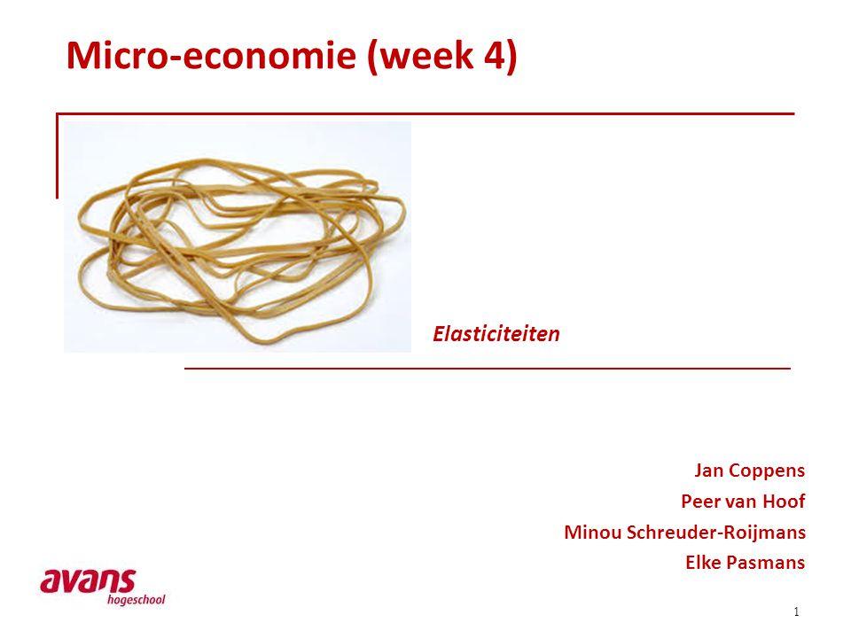 1 Micro-economie (week 4) Jan Coppens Peer van Hoof Minou Schreuder-Roijmans Elke Pasmans Elasticiteiten