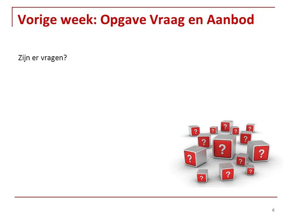 Vorige week: Opgave Vraag en Aanbod 6 Zijn er vragen?