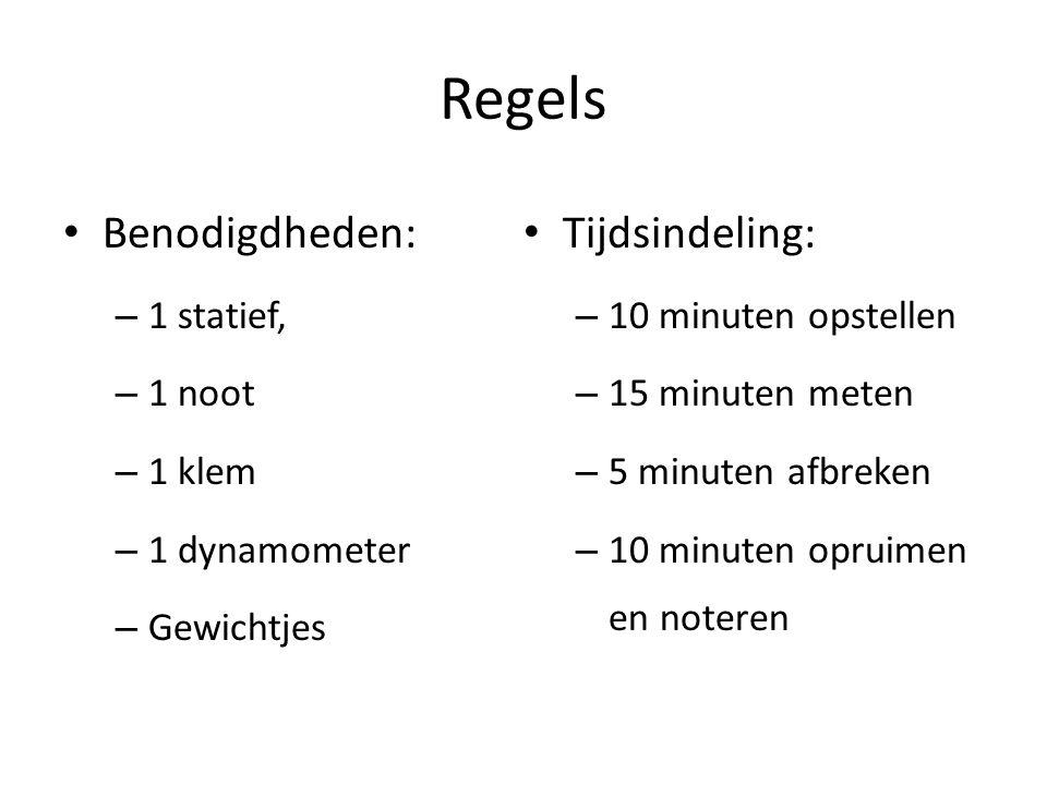 Regels Benodigdheden: – 1 statief, – 1 noot – 1 klem – 1 dynamometer – Gewichtjes Tijdsindeling: – 10 minuten opstellen – 15 minuten meten – 5 minuten