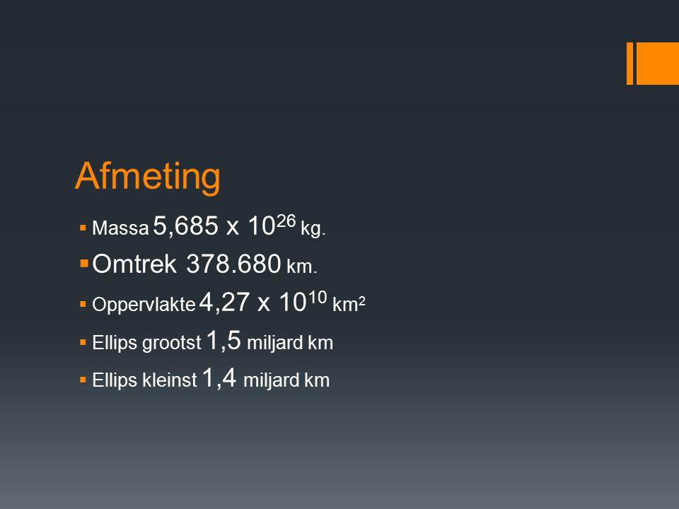 Afmeting  Massa 5,685 x 10 26 kg. Omtrek 378.680 km.