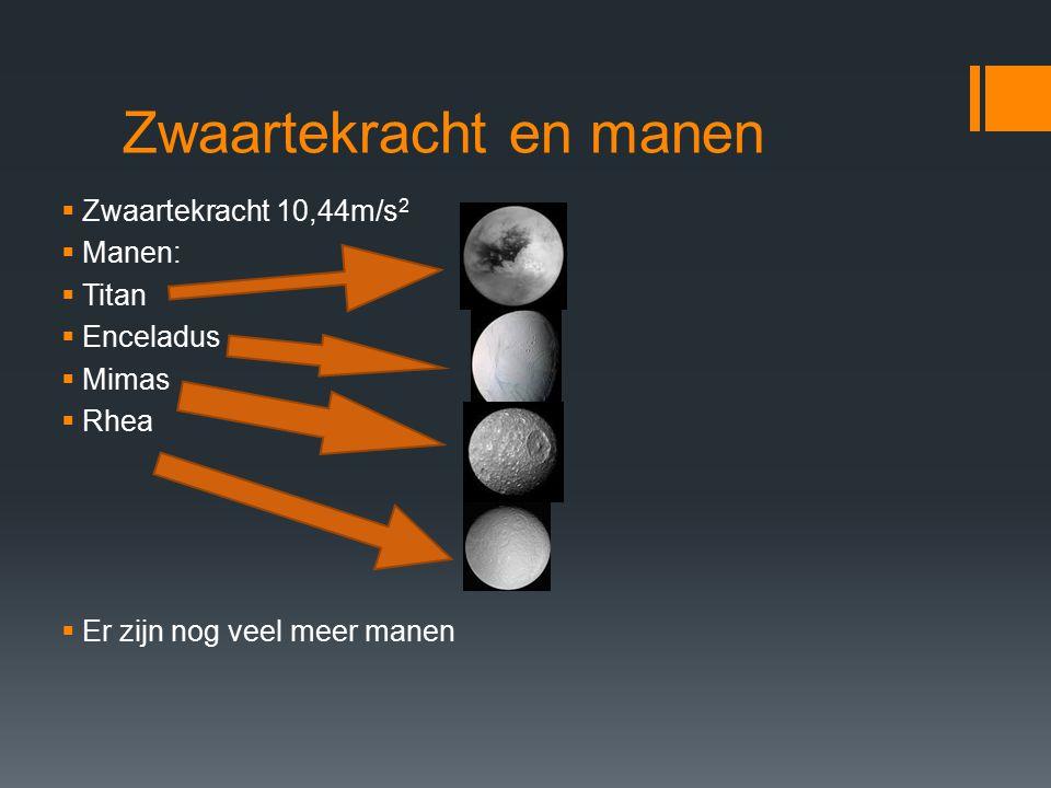 Zwaartekracht en manen  Zwaartekracht 10,44m/s 2  Manen:  Titan  Enceladus  Mimas  Rhea  Er zijn nog veel meer manen