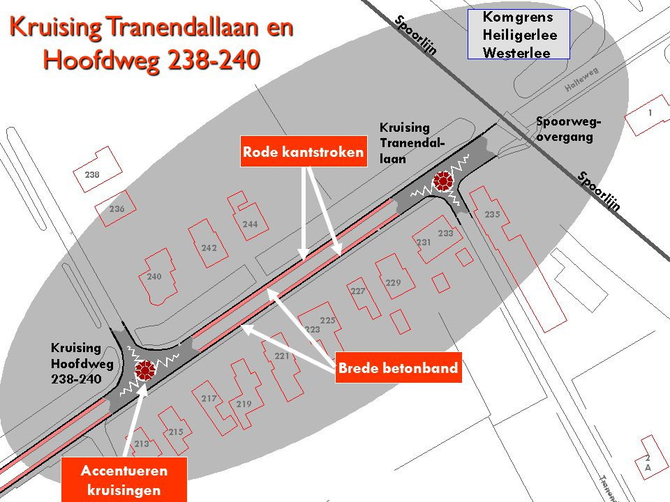 Kruising Tranendallaan en Hoofdweg 238-240 Rode kantstroken Brede betonband Accentueren kruisingen