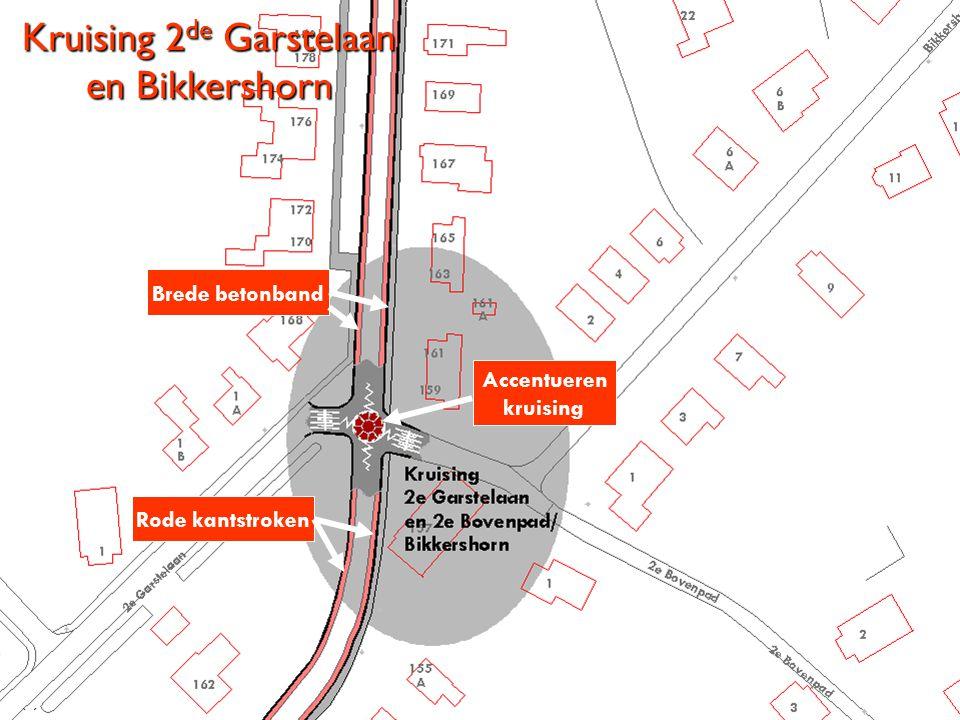 Kruising 2 de Garstelaan en Bikkershorn Accentueren kruising Rode kantstroken Brede betonband
