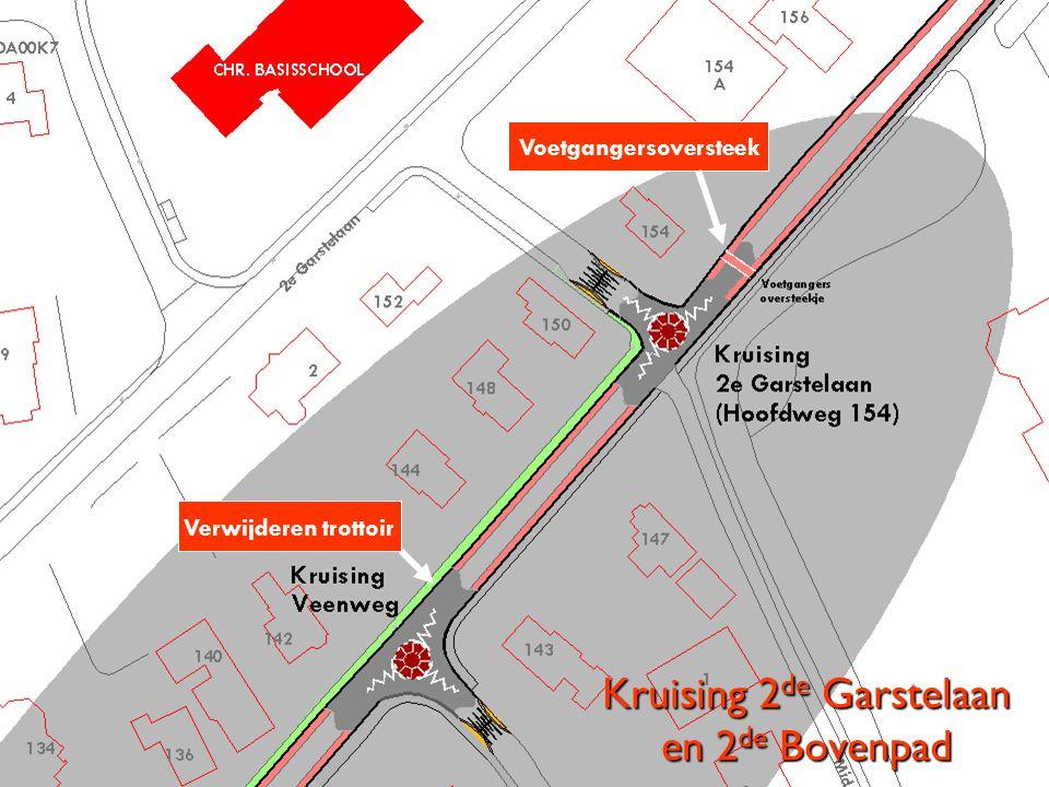 Kruising 2 de Garstelaan en 2 de Bovenpad Verwijderen trottoir Voetgangersoversteek