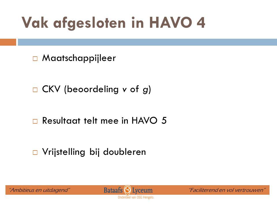 """Vak afgesloten in HAVO 4  Maatschappijleer  CKV (beoordeling v of g)  Resultaat telt mee in HAVO 5  Vrijstelling bij doubleren """"Ambitieus en uitda"""