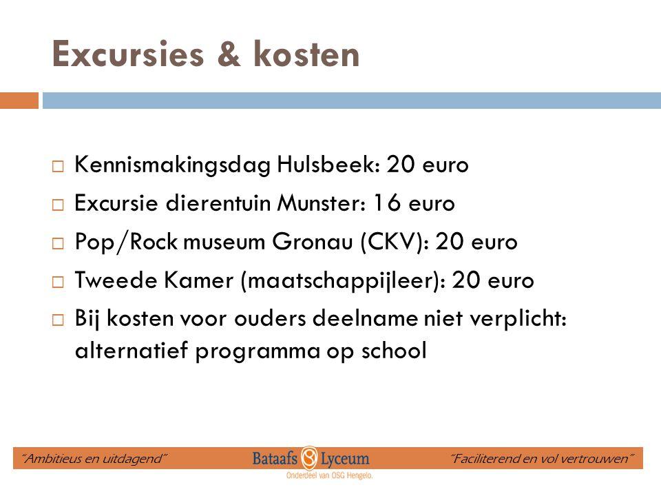 Excursies & kosten  Kennismakingsdag Hulsbeek: 20 euro  Excursie dierentuin Munster: 16 euro  Pop/Rock museum Gronau (CKV): 20 euro  Tweede Kamer
