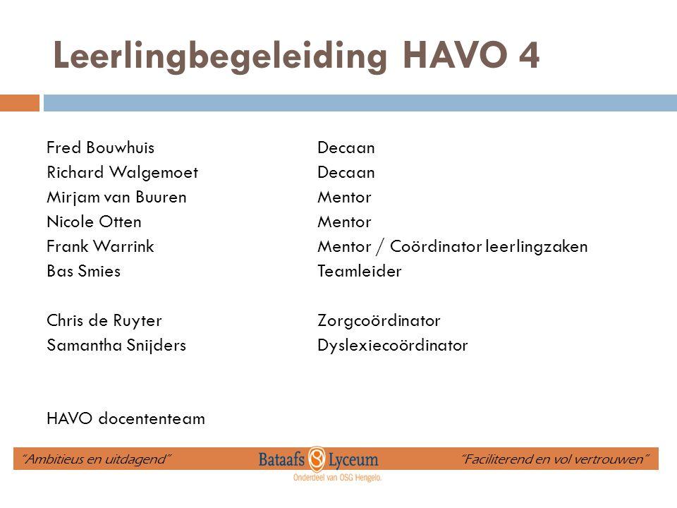 Leerlingbegeleiding HAVO 4 Fred BouwhuisDecaan Richard WalgemoetDecaan Mirjam van BuurenMentor Nicole OttenMentor Frank WarrinkMentor / Coördinator le