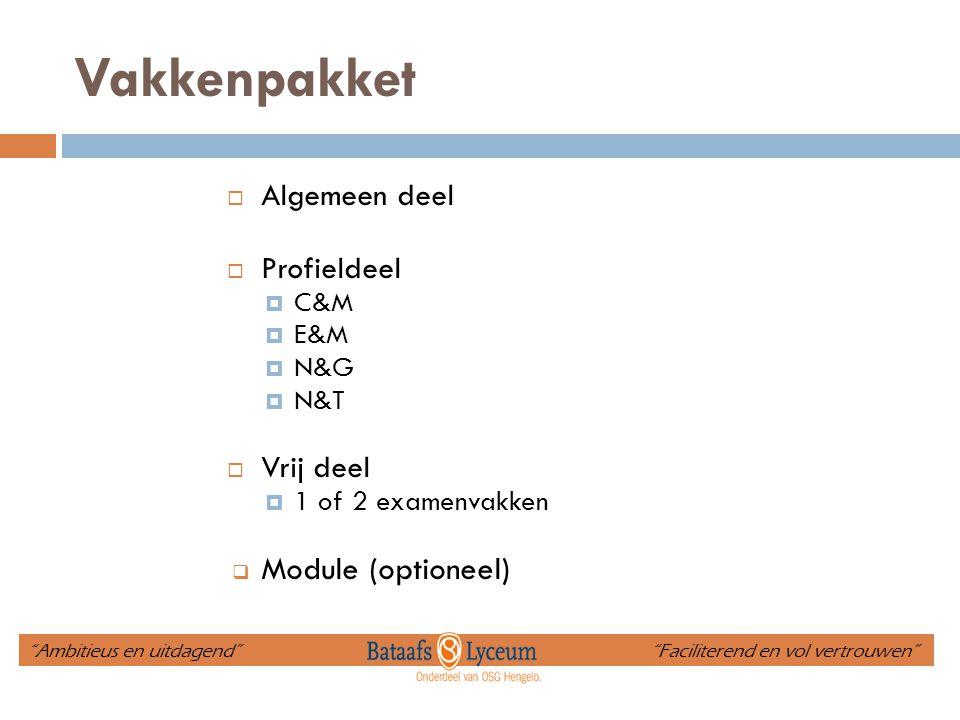 """Vakkenpakket  Algemeen deel  Profieldeel  C&M  E&M  N&G  N&T  Vrij deel  1 of 2 examenvakken  Module (optioneel) """"Ambitieus en uitdagend"""" """"Fa"""