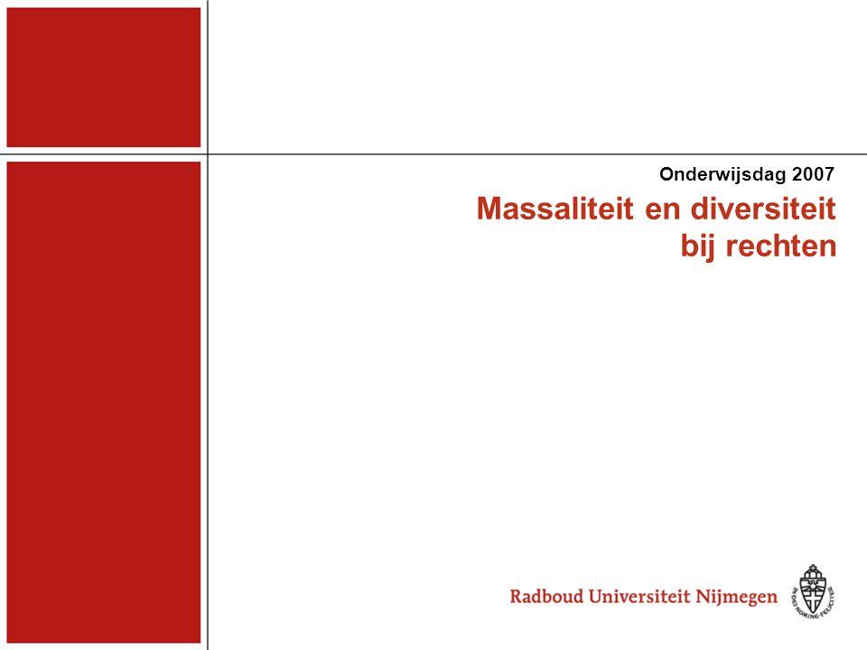 Massaliteit en diversiteit bij rechten Onderwijsdag 2007