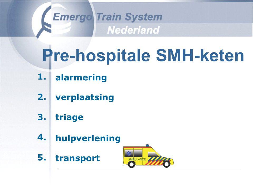 Pre-hospitale SMH-keten alarmering verplaatsing triage hulpverlening transport 1. 2. 3. 4. 5.