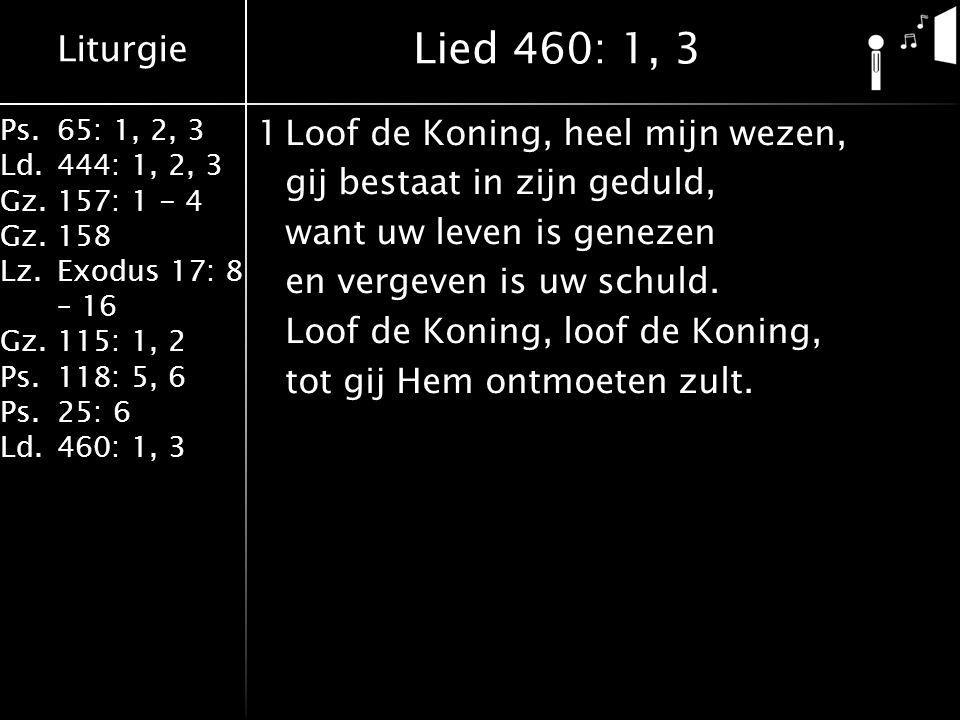 Liturgie Ps.65: 1, 2, 3 Ld.444: 1, 2, 3 Gz.157: 1 - 4 Gz. 158 Lz.Exodus 17: 8 – 16 Gz. 115: 1, 2 Ps.118: 5, 6 Ps.25: 6 Ld.460: 1, 3 1Loof de Koning, h