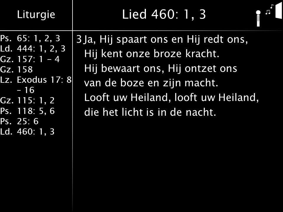 Liturgie Ps.65: 1, 2, 3 Ld.444: 1, 2, 3 Gz.157: 1 - 4 Gz. 158 Lz.Exodus 17: 8 – 16 Gz. 115: 1, 2 Ps.118: 5, 6 Ps.25: 6 Ld.460: 1, 3 3Ja, Hij spaart on