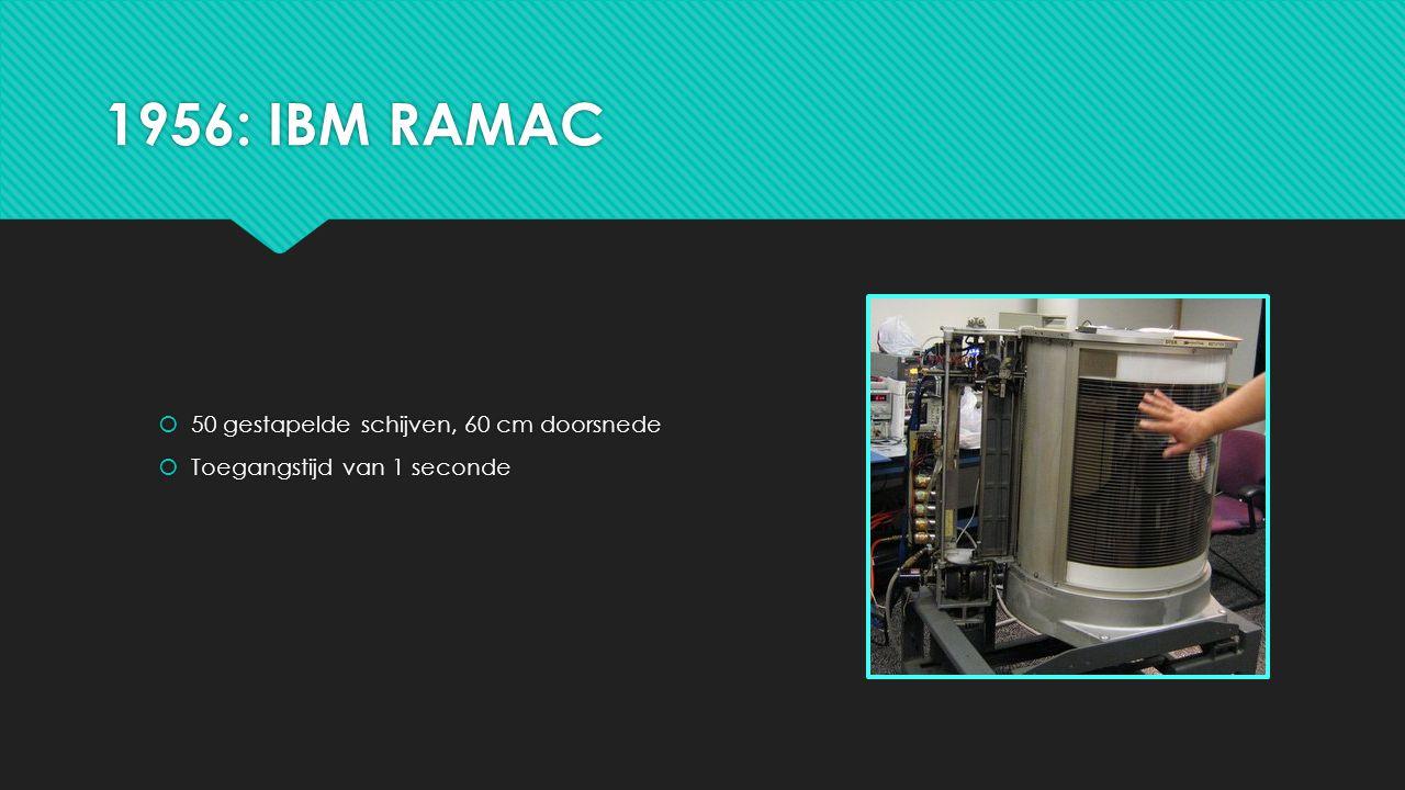 1956: IBM RAMAC  50 gestapelde schijven, 60 cm doorsnede  Toegangstijd van 1 seconde  50 gestapelde schijven, 60 cm doorsnede  Toegangstijd van 1 seconde