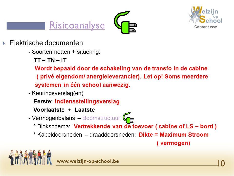  Elektrische documenten - Soorten netten + situering: TT – TN – IT Wordt bepaald door de schakeling van de transfo in de cabine ( privé eigendom/ anergieleverancier).