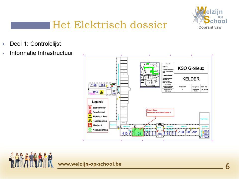  Deel 1: Controlelijst Informatie Infrastructuur Het Elektrisch dossier www.welzijn-op-school.be 6
