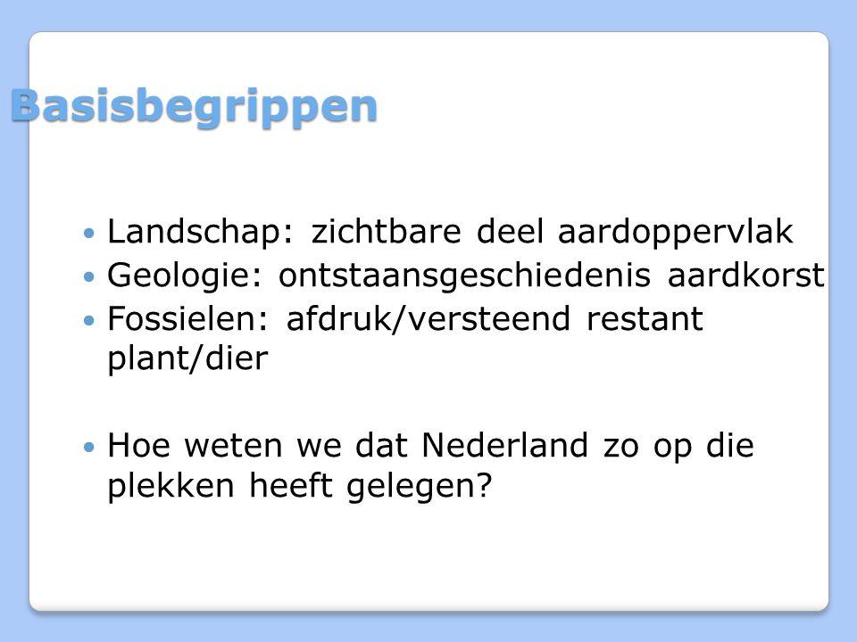 Basisbegrippen Landschap: zichtbare deel aardoppervlak Geologie: ontstaansgeschiedenis aardkorst Fossielen: afdruk/versteend restant plant/dier Hoe weten we dat Nederland zo op die plekken heeft gelegen?