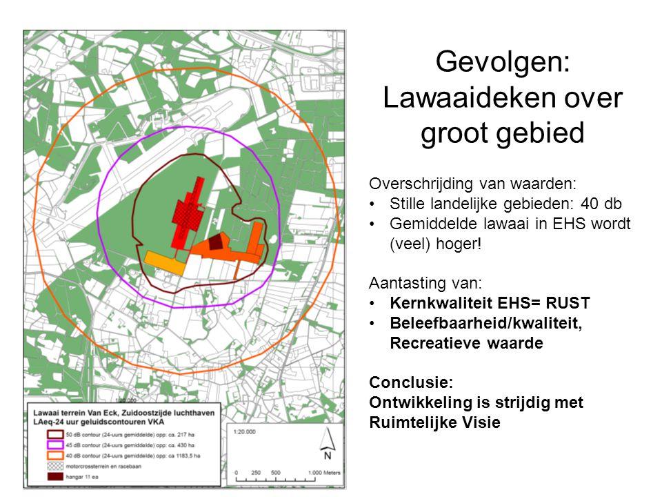 Gevolgen: Lawaaideken over groot gebied Overschrijding van waarden: Stille landelijke gebieden: 40 db Gemiddelde lawaai in EHS wordt (veel) hoger.