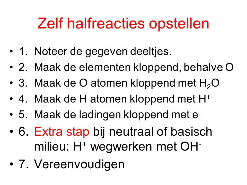 Zelf halfreacties opstellen 1.Noteer de gegeven deeltjes.
