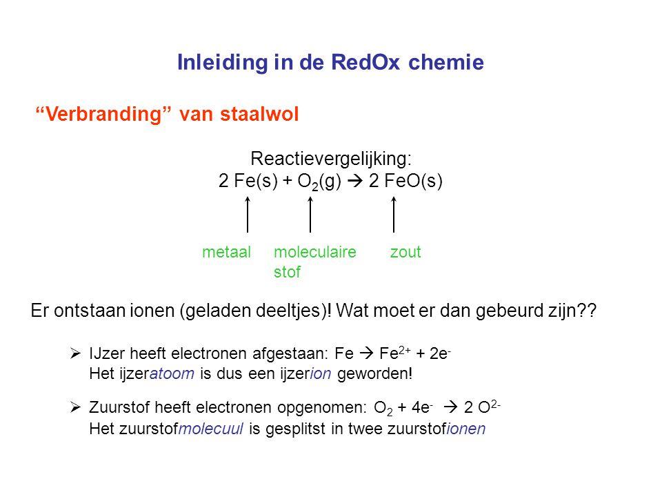Inleiding in de RedOx chemie Verbranding van staalwol Reactievergelijking: 2 Fe(s) + O 2 (g)  2 FeO(s) metaal moleculaire zout stof Er ontstaan ionen (geladen deeltjes).