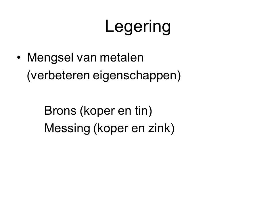Legering Mengsel van metalen (verbeteren eigenschappen) Brons (koper en tin) Messing (koper en zink)