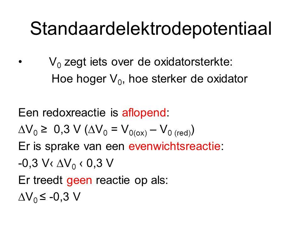 Standaardelektrodepotentiaal V 0 zegt iets over de oxidatorsterkte: Hoe hoger V 0, hoe sterker de oxidator Een redoxreactie is aflopend: ∆V 0 ≥ 0,3 V (∆V 0 = V 0(ox) – V 0 (red) ) Er is sprake van een evenwichtsreactie: -0,3 V‹ ∆V 0 ‹ 0,3 V Er treedt geen reactie op als: ∆V 0 ≤ -0,3 V