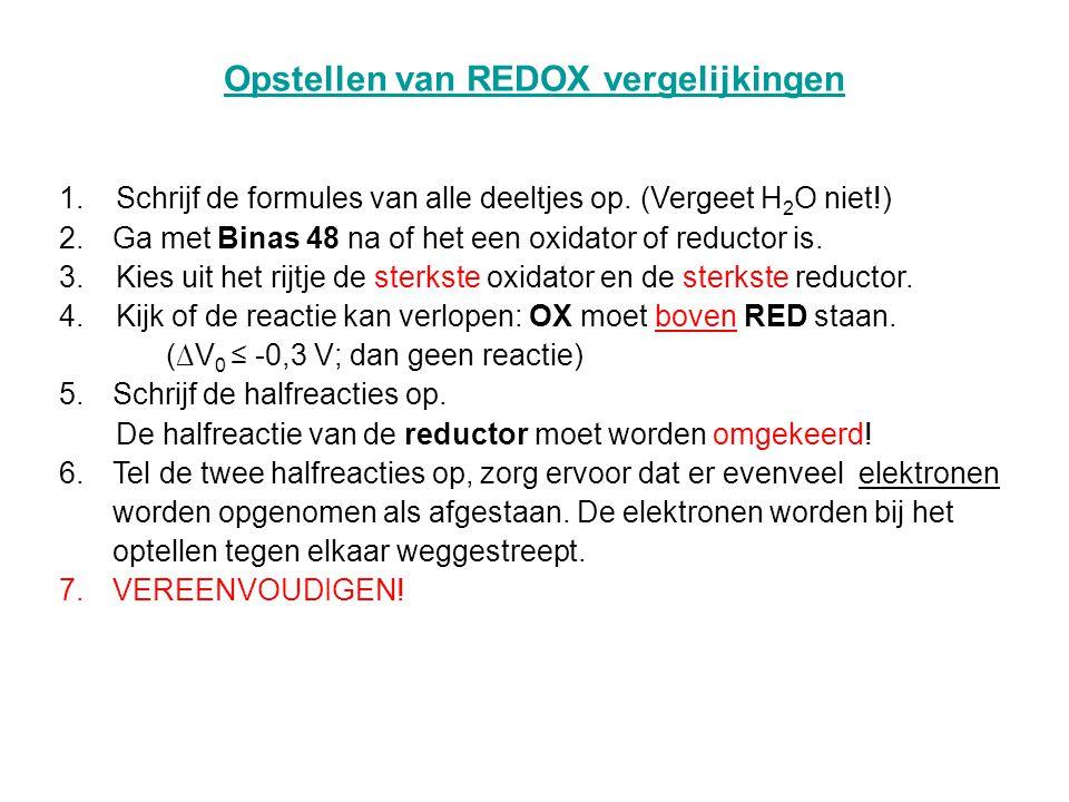 Opstellen van REDOX vergelijkingen 1.Schrijf de formules van alle deeltjes op.