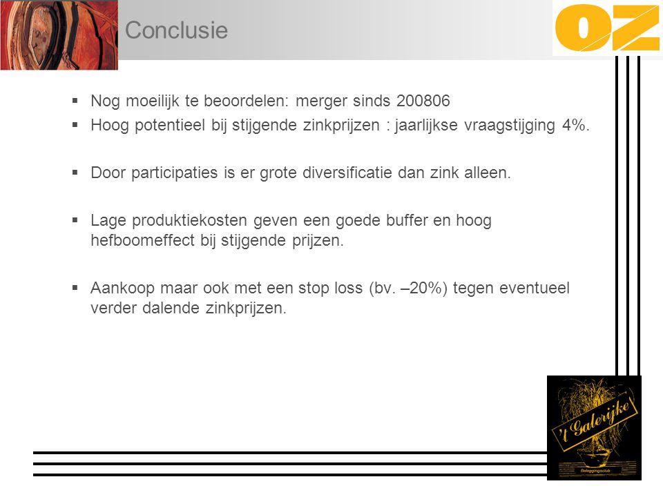 Conclusie  Nog moeilijk te beoordelen: merger sinds 200806  Hoog potentieel bij stijgende zinkprijzen : jaarlijkse vraagstijging 4%.