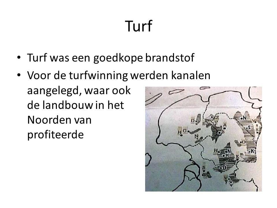 Turf Turf was een goedkope brandstof Voor de turfwinning werden kanalen aangelegd, waar ook de landbouw in het Noorden van profiteerde