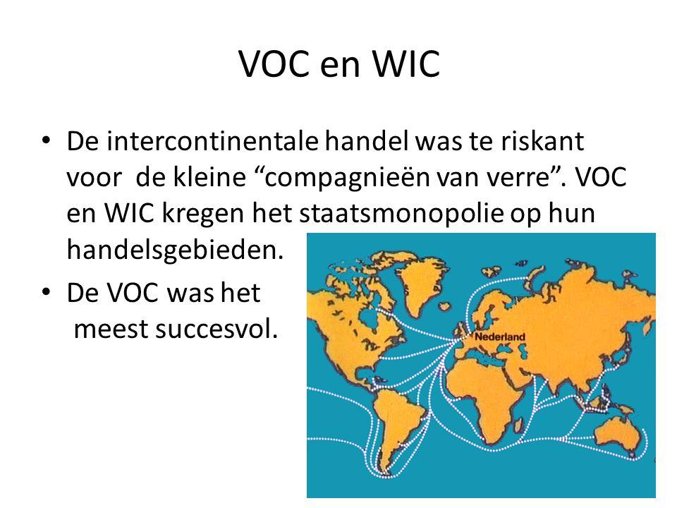 VOC en WIC De intercontinentale handel was te riskant voor de kleine compagnieën van verre .