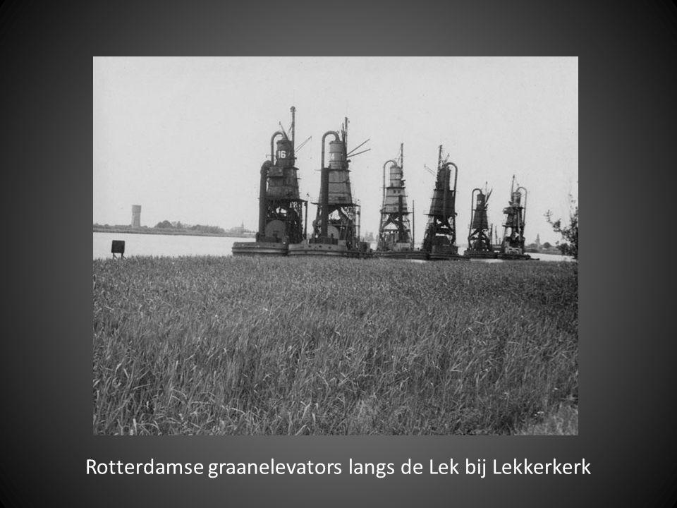 Rotterdamse graanelevators langs de Lek bij Lekkerkerk