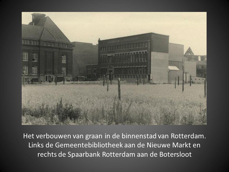 Het verbouwen van graan in de binnenstad van Rotterdam. Links de Gemeentebibliotheek aan de Nieuwe Markt en rechts de Spaarbank Rotterdam aan de Boter