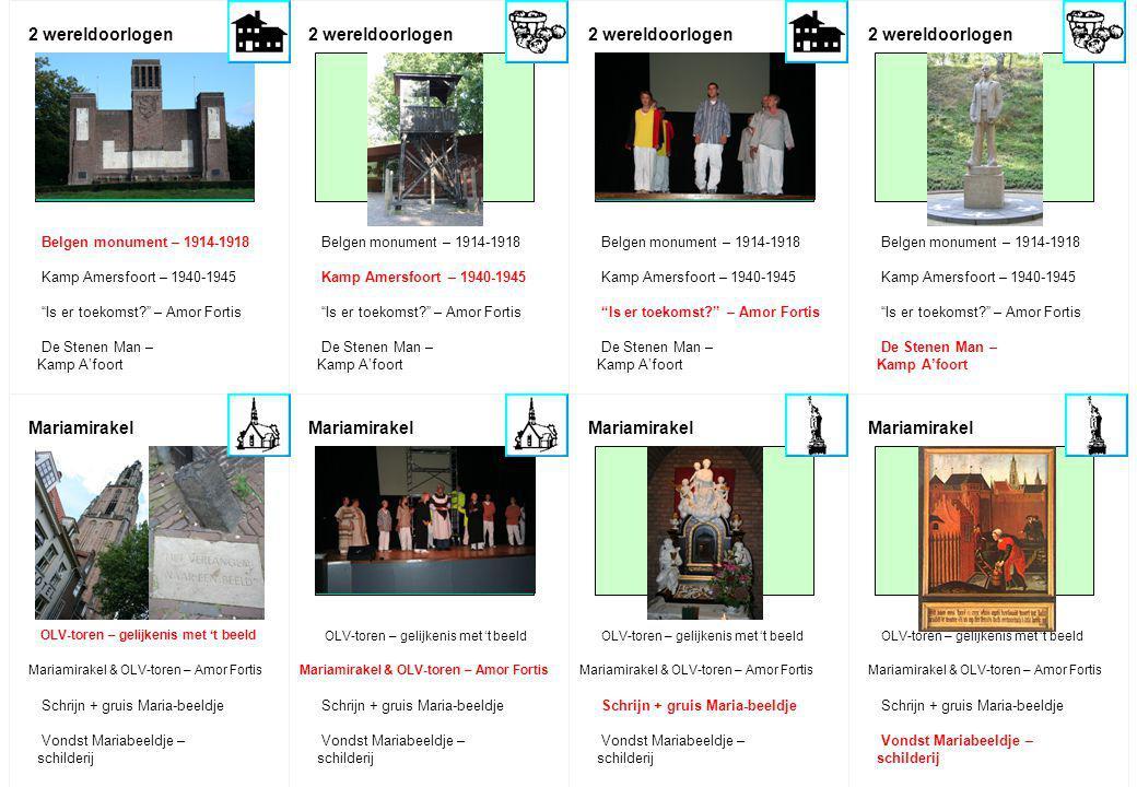 """2 wereldoorlogen Mariamirakel 2 wereldoorlogen Mariamirakel Belgen monument – 1914-1918 Kamp Amersfoort – 1940-1945 """"Is er toekomst?"""" – Amor Fortis De"""