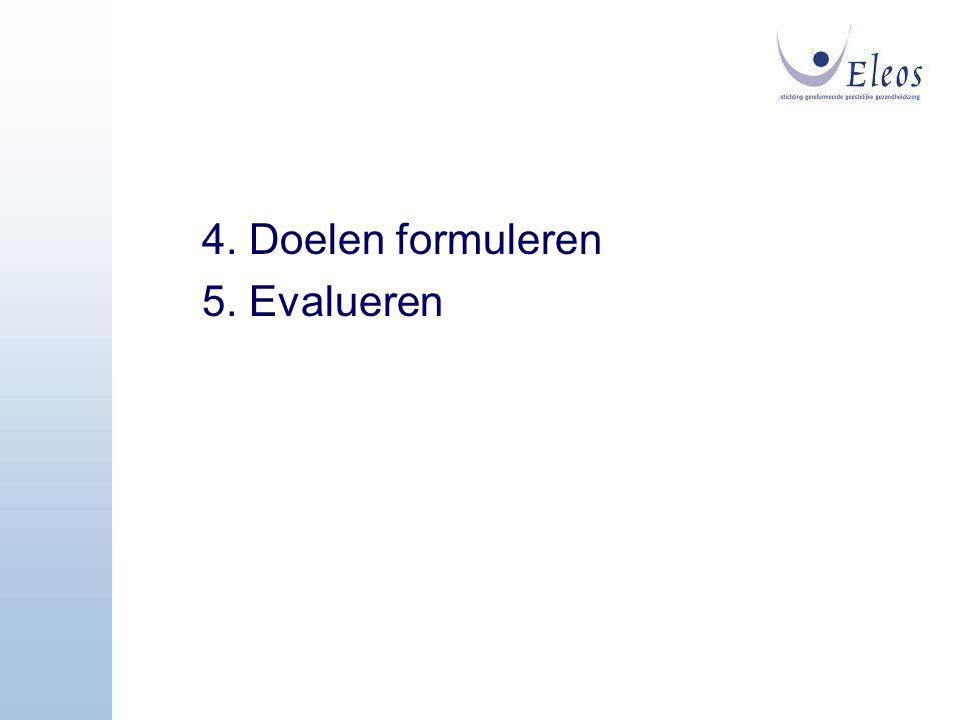4. Doelen formuleren 5. Evalueren