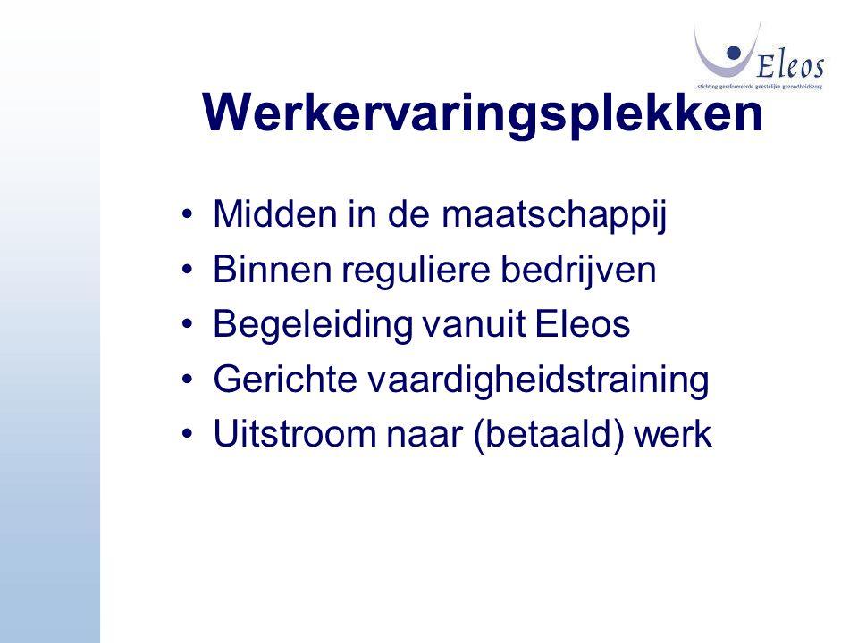 Werkervaringsplekken Midden in de maatschappij Binnen reguliere bedrijven Begeleiding vanuit Eleos Gerichte vaardigheidstraining Uitstroom naar (betaa