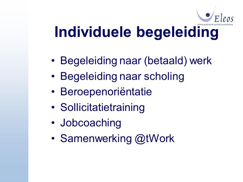 Individuele begeleiding Begeleiding naar (betaald) werk Begeleiding naar scholing Beroepenoriëntatie Sollicitatietraining Jobcoaching Samenwerking @tW
