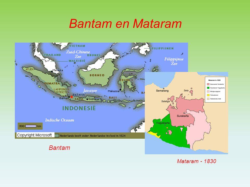 Ondanks de bemoeienis met Bantam en Mataram kwam de VOC nauwelijks in contact met de inheemse bevolking –Goederen werden geleverd via de vorsten –Alleen rond Batavia en de hooglanden van West-Java bemoeide zij zich rechtstreeks met de bevolking Achterland Batavia voor suiker (Chinezen) West-Java hooglanden voor koffie, zgnd.