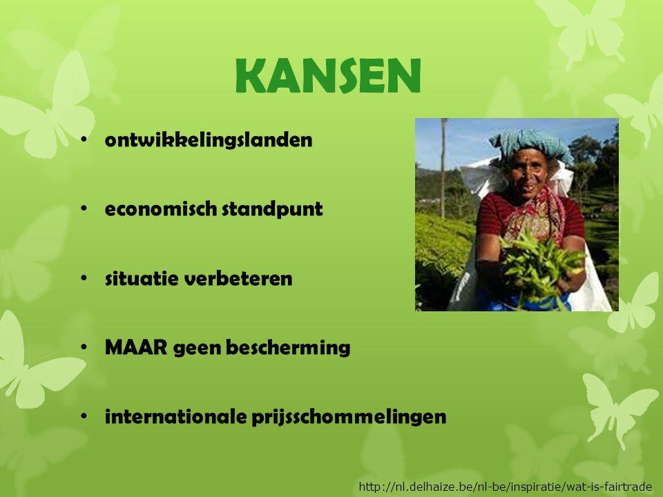 KANSEN ontwikkelingslanden economisch standpunt situatie verbeteren MAAR geen bescherming internationale prijsschommelingen http://nl.delhaize.be/nl-be/inspiratie/wat-is-fairtrade