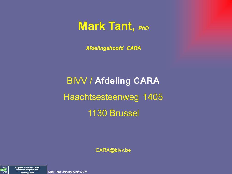 Belgisch Instituut voor de Verkeersveiligheid vzw Afdeling CARA Mark Tant, Afdelingshoofd CARA Enkele aanpassingen