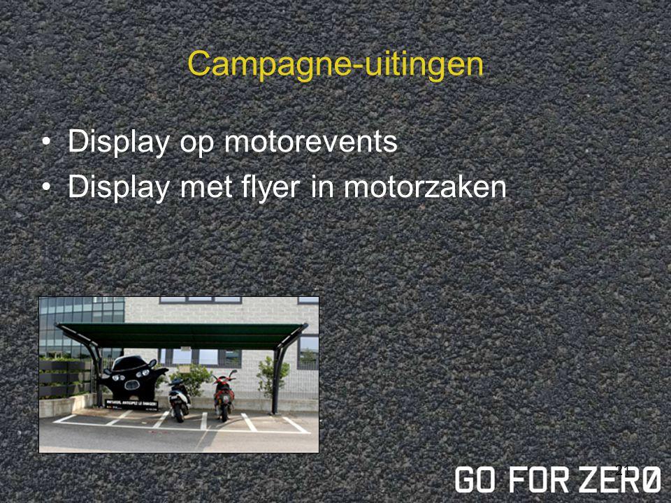 20 Affichage Oproep aan motorrijder Verschillende monstertjes (fellere kleuren) worden gecreëerd Ludieke piste; leuk effect; niet stigmatiserend