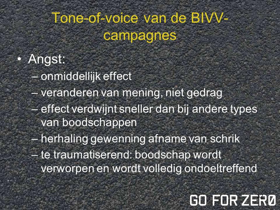 31 Tone-of-voice van de BIVV- campagnes  angstinductie = wel afhankelijk van de doelgroep: –Inspelen op verantwoordelijkheidszin –Humor –Positief –N