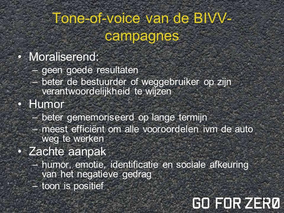 32 Tone-of-voice van de BIVV- campagnes Angst: –onmiddellijk effect –veranderen van mening, niet gedrag –effect verdwijnt sneller dan bij andere types