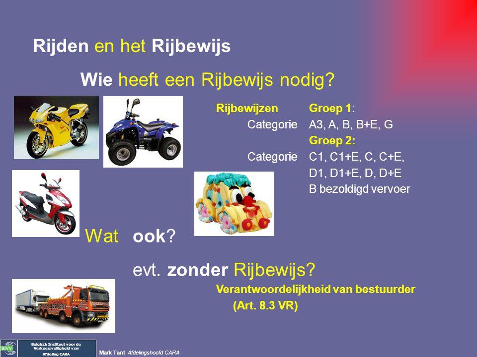 Belgisch Instituut voor de Verkeersveiligheid vzw Afdeling CARA Mark Tant, Afdelingshoofd CARA Rijden en het Rijbewijs Wie heeft een Rijbewijs nodig?